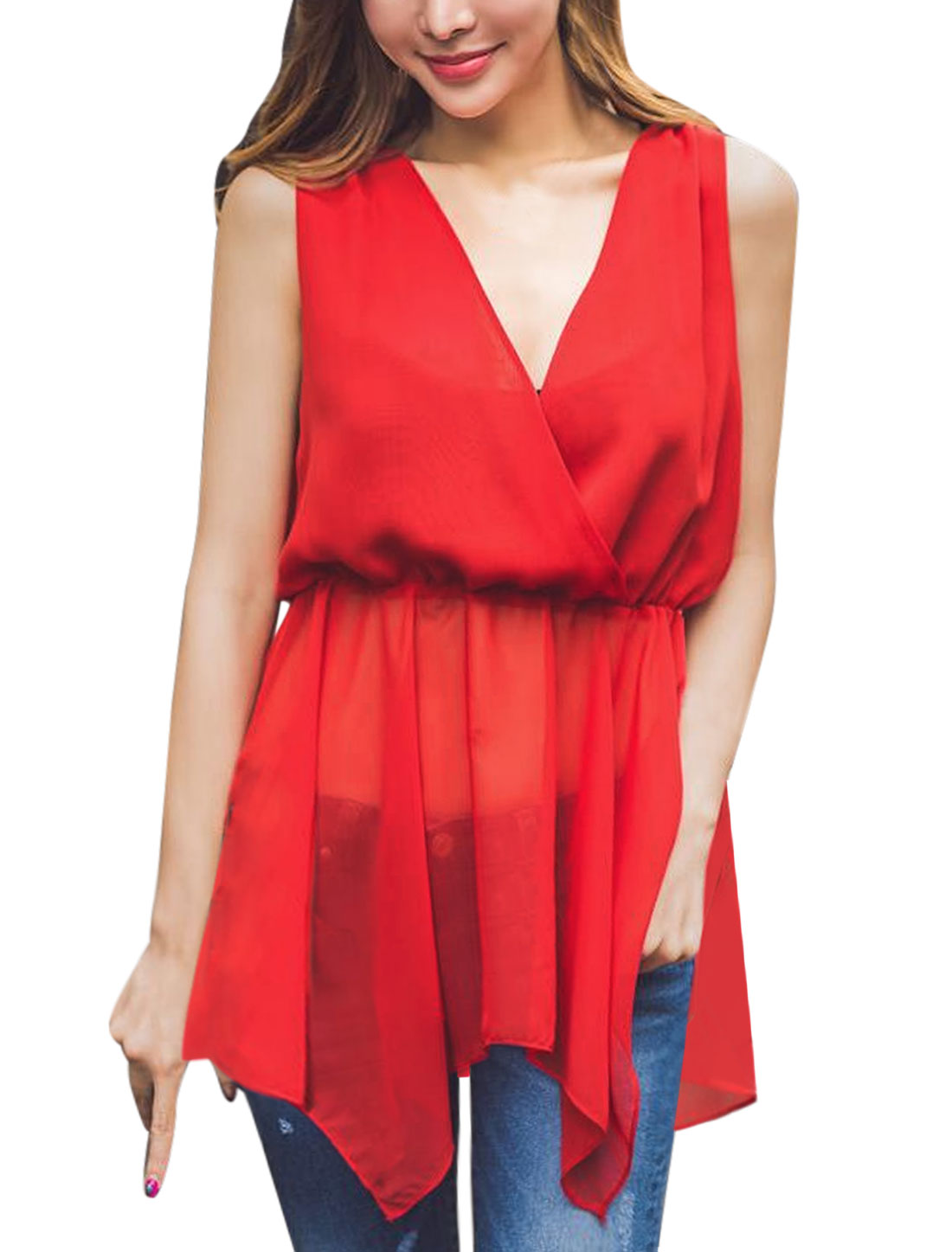 Women Crossover V Neck Elastic Waist Asymmetric Hem Chiffon Blouse Red S