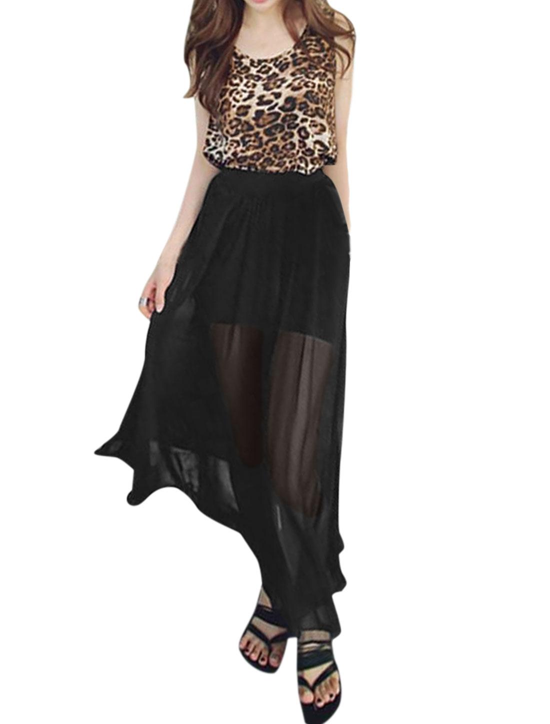 Women Leopard Prints Tank Top w Elastic Waist Chiffon Long Skirt Set Brown Black S