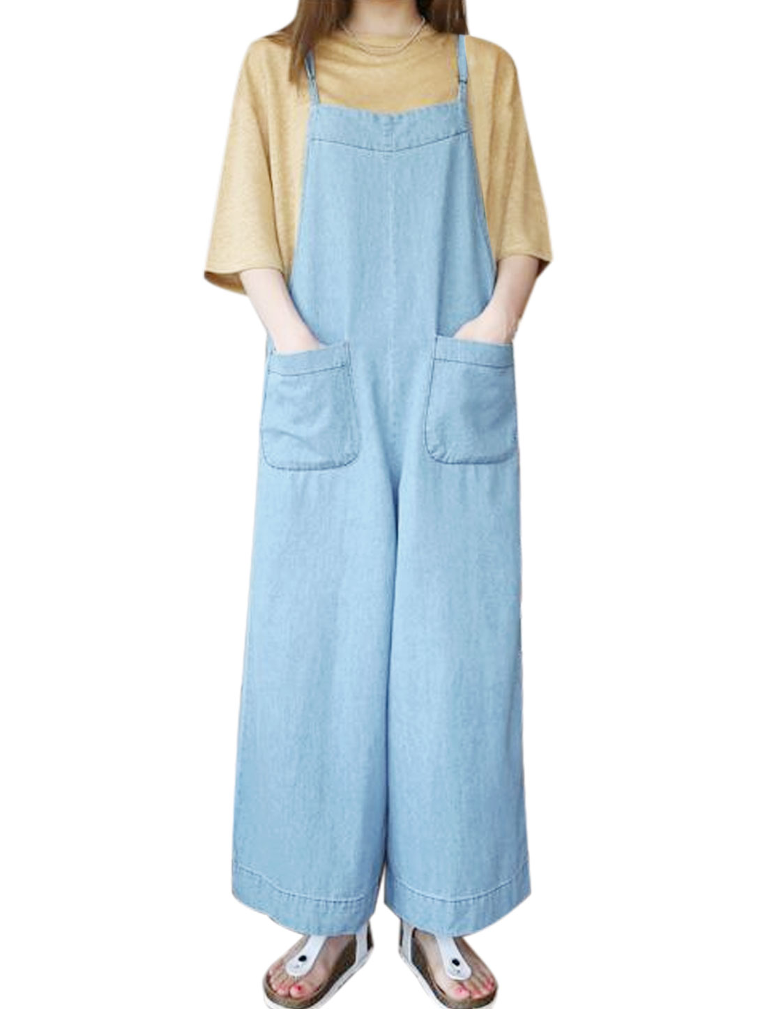 Women Pockets Front Wide Leg Loose Suspender Pants Blue M