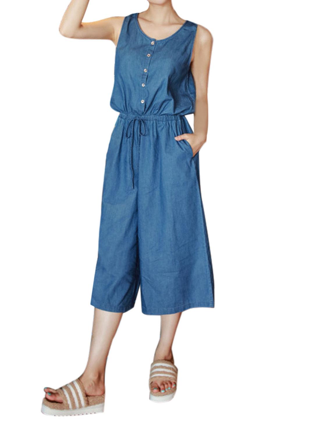 Women Sleeveless Half Button Closure Denim Culottes Jumpsuit Blue S