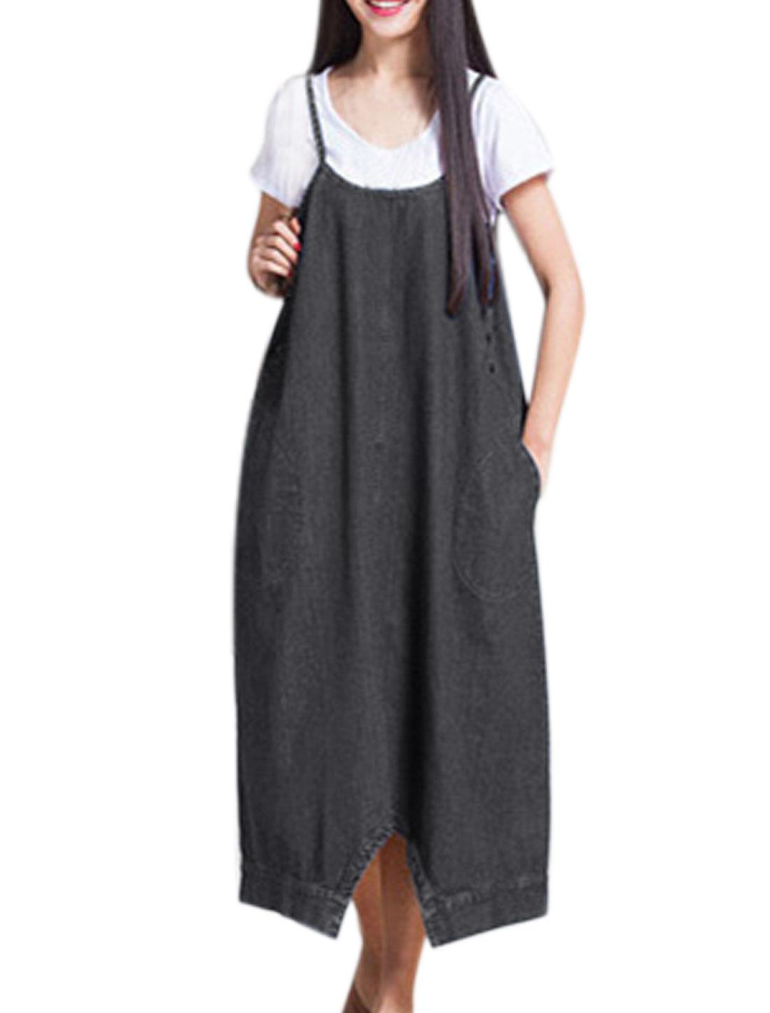 Women Two-Way Wearing Sleeveless Oversize Jean Dress Black S