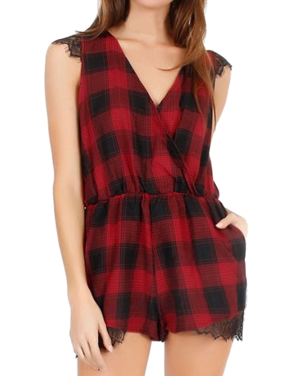Women Sleeveless Crossover V Neck Lace Panel Plaids Romper Red M