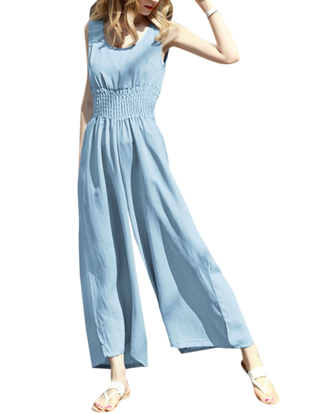 Women Sleeveless Scoop Neck Smocked Waist Wide Leg Jumpsuit Blue XS