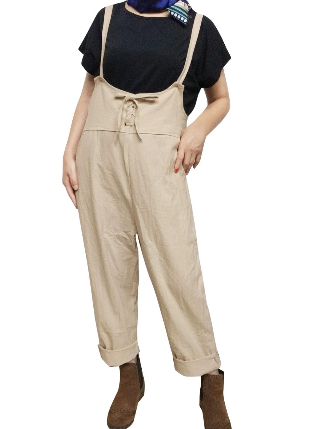 Women Lace Up Front Loose Pockets Suspender Pants Beige M