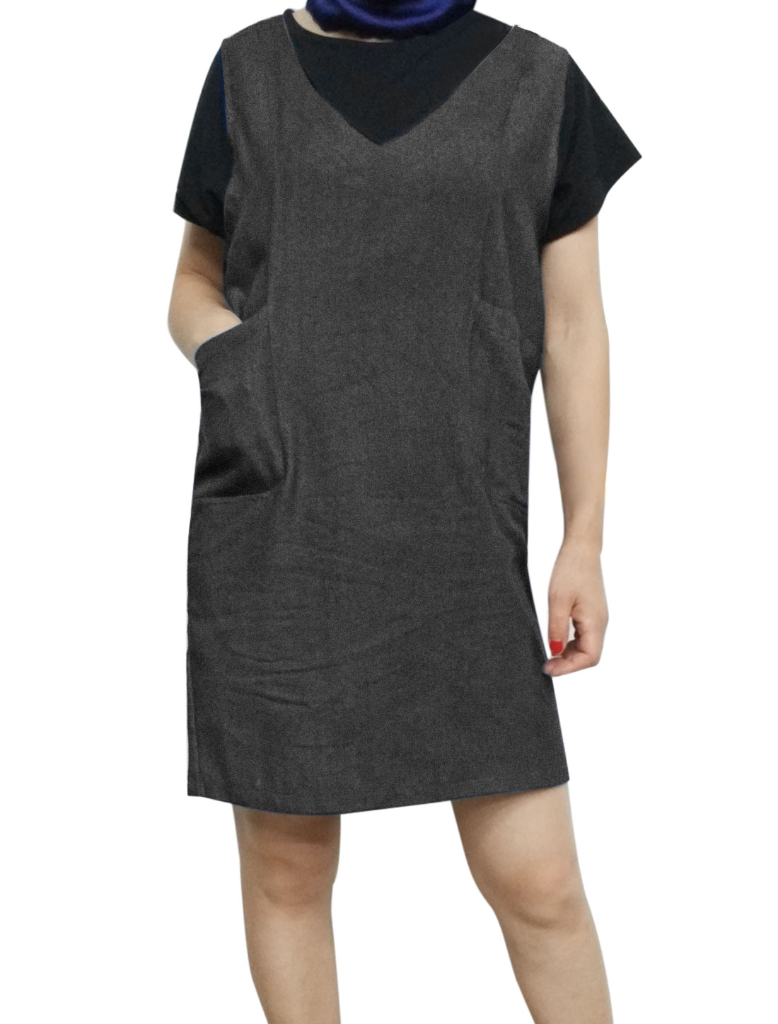 Women V Neck Sleeveless Pockets Front Loose Denim Straight Dress Black L