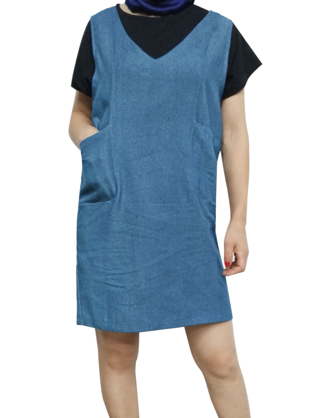 Women V Neck Sleeveless Pockets Front Loose Denim Straight Dress Blue L