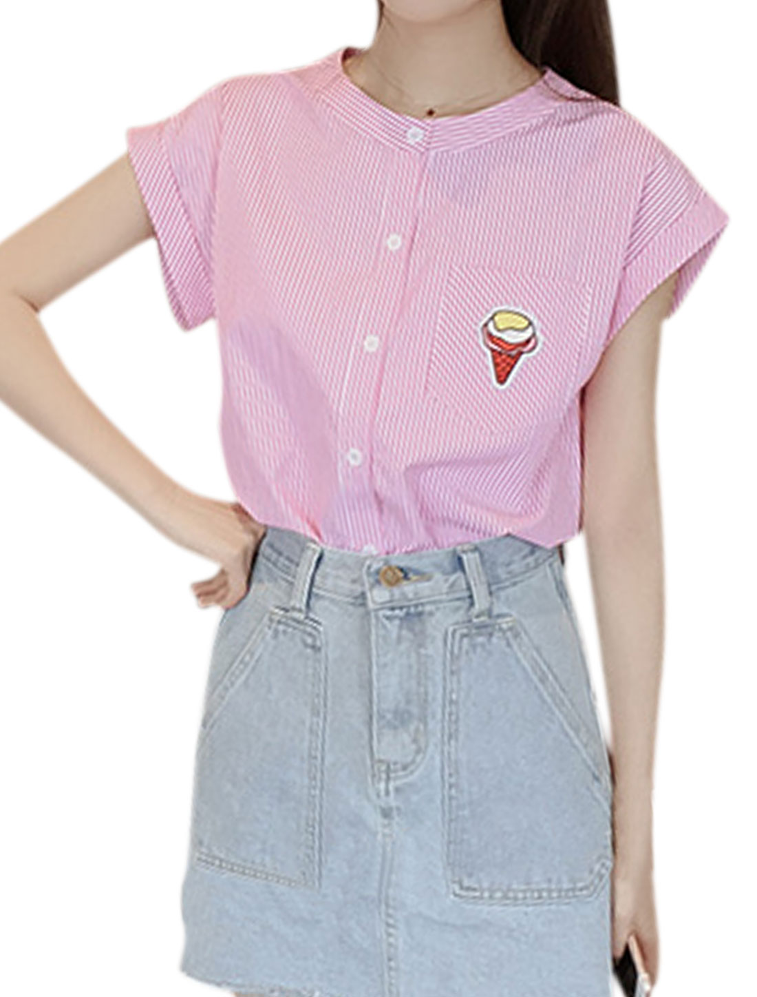 Women Button Down Stripes Ice-cream Embossed Top Pink XS