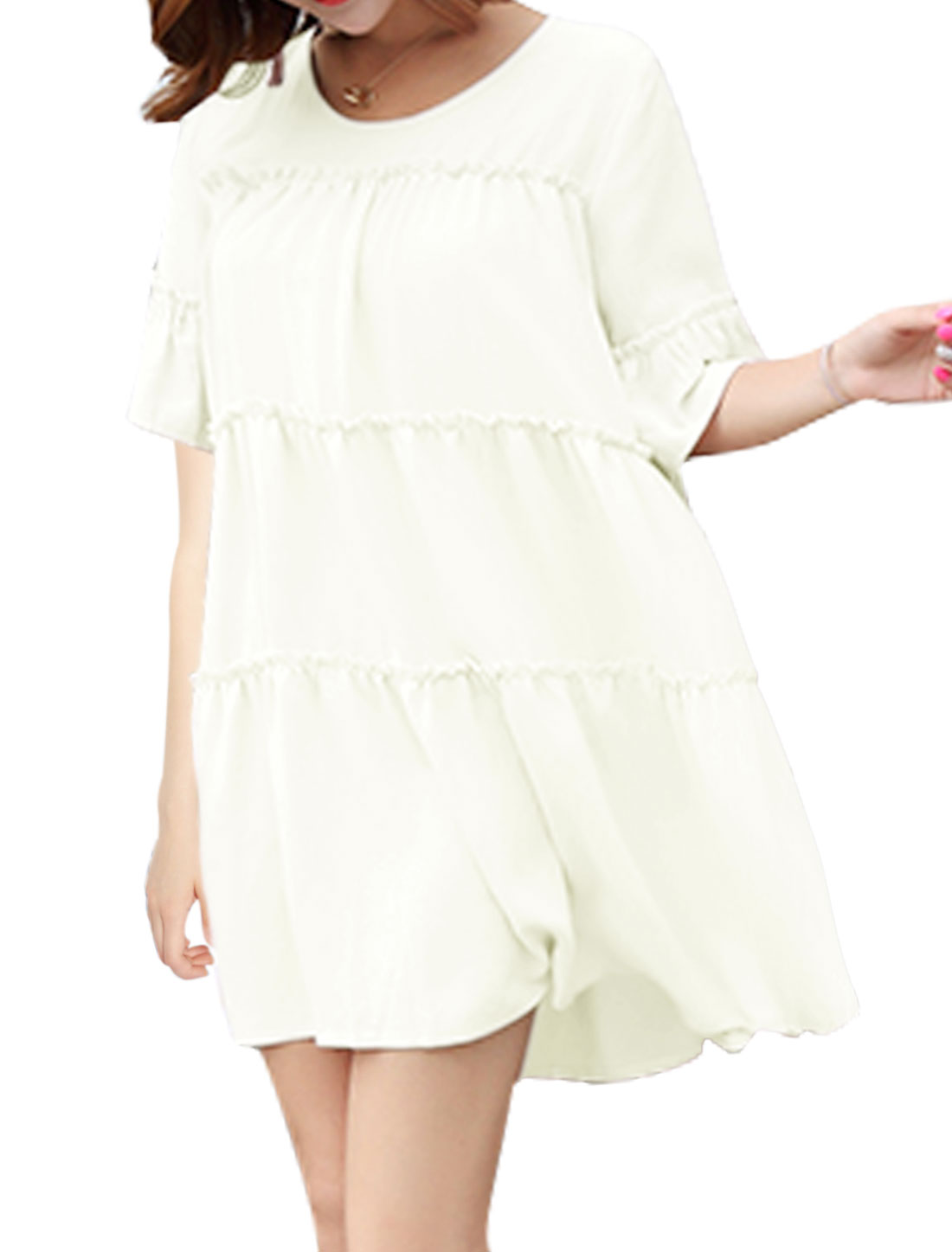 Women Half Bell Sleeve Ruched Round Neck Mini A-Line Dress White XS