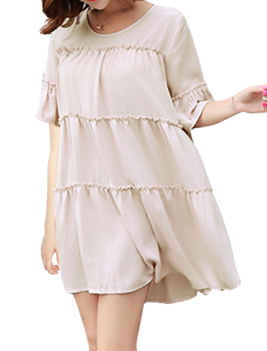 Women Half Bell Sleeve Ruched Round Neck Mini A-Line Dress Pink XS