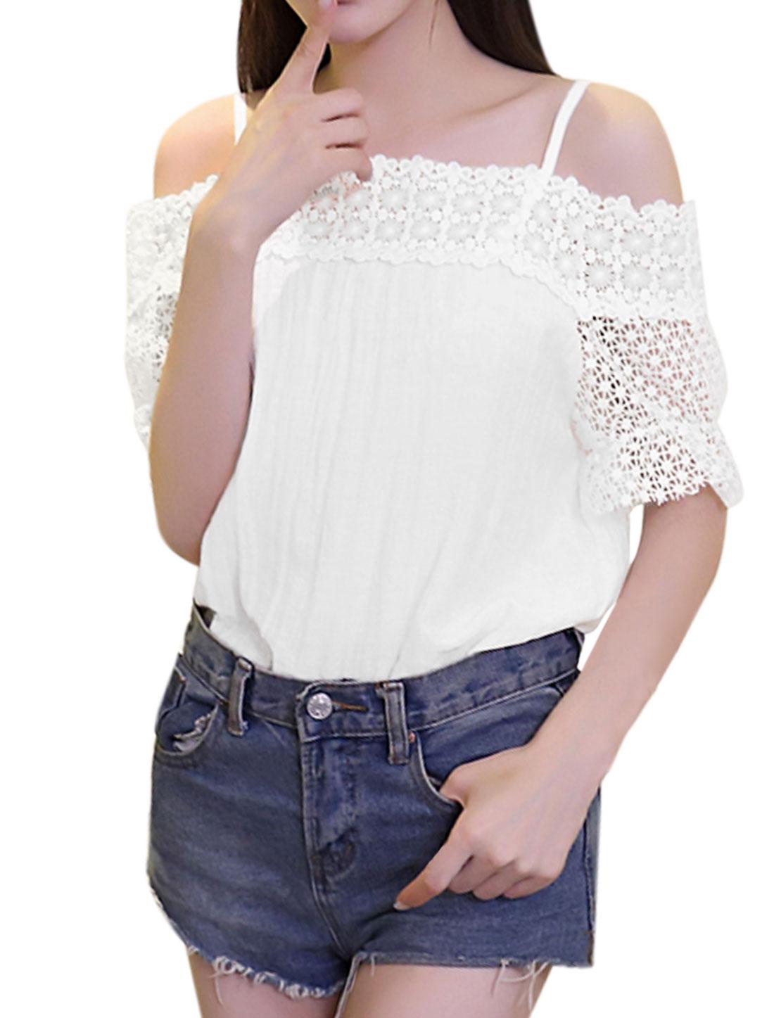 Women Crochet Panel Off Shoulder Half Sleeve Top White XS
