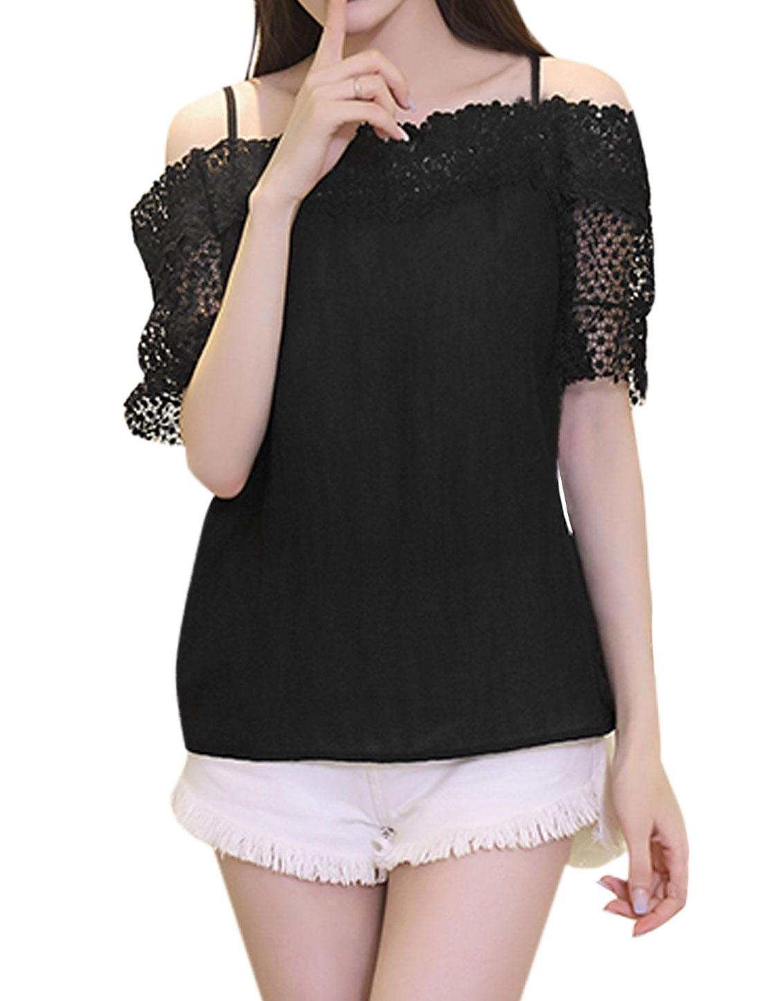 Women Crochet Panel Off Shoulder Half Sleeve Top Black XS