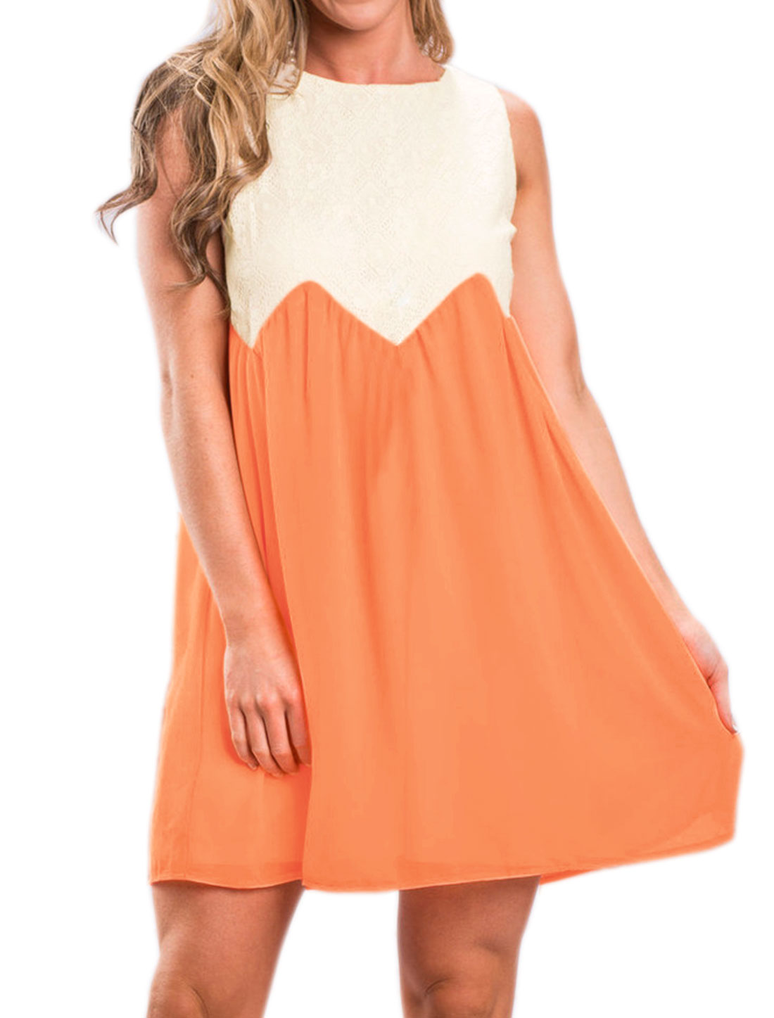 Women Lace Panel Contrast Color Sleeveless Chiffon Babydoll Dress Orange M