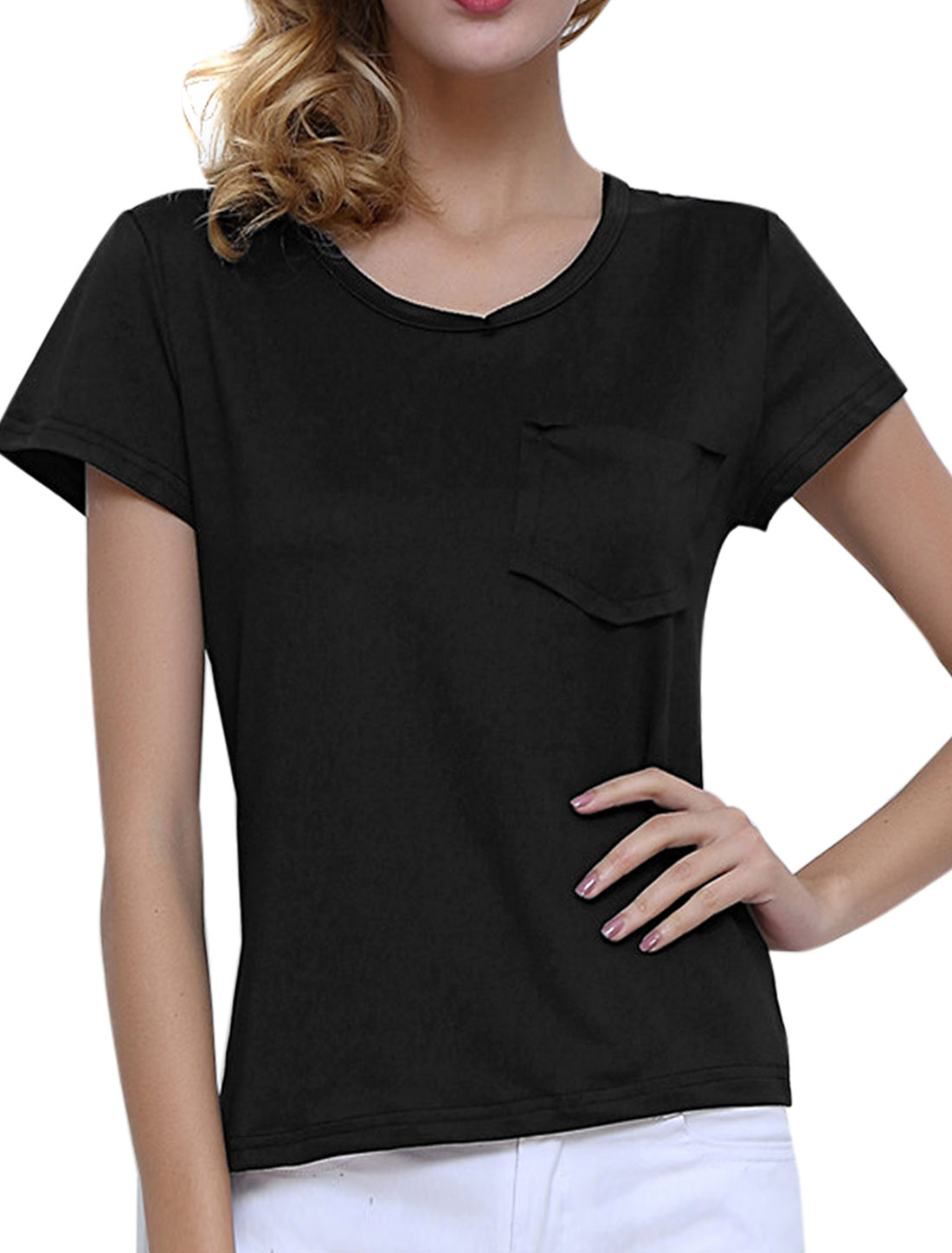 Women V Neck Short Sleeves Single Pocket Tee Shirt Black M