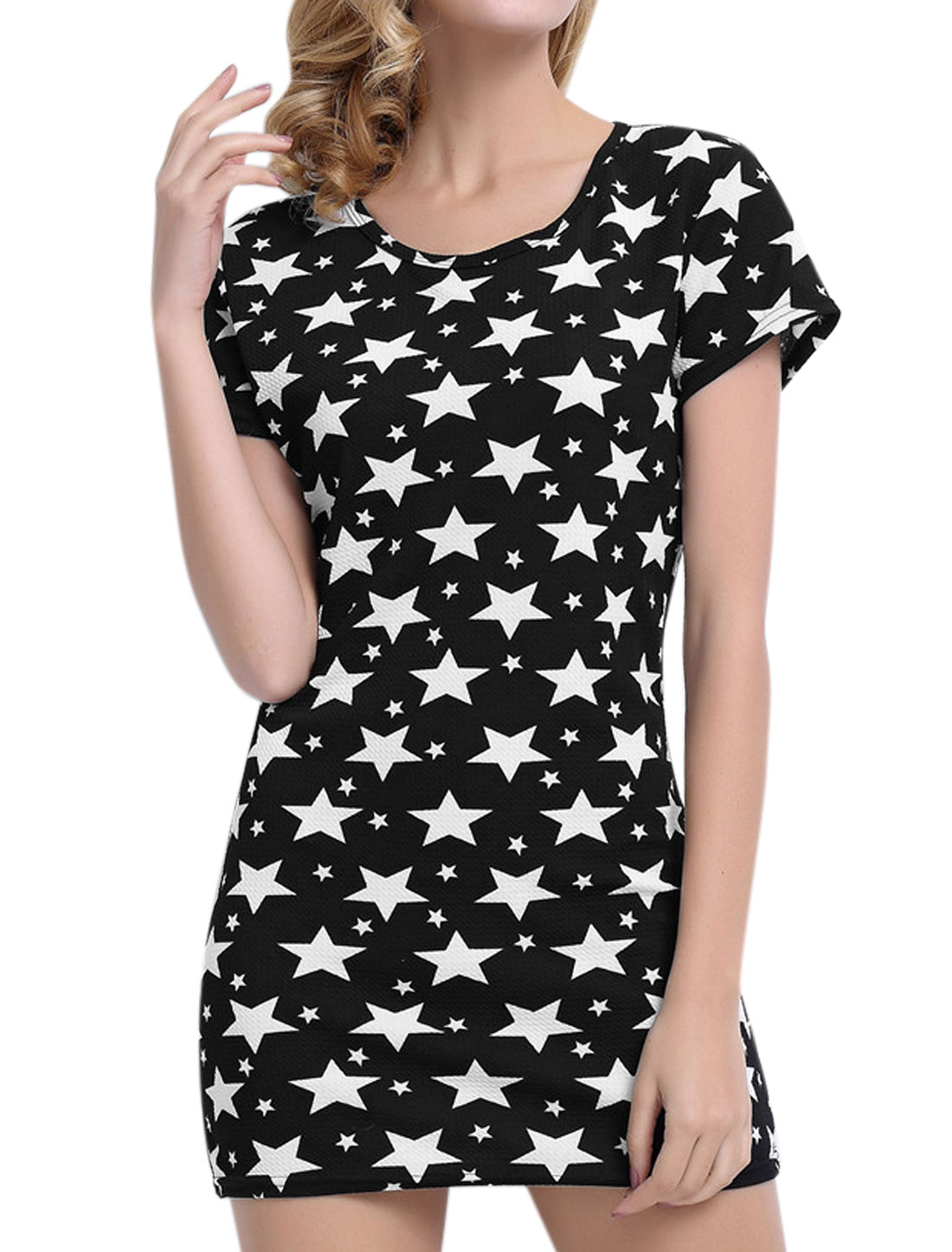 Women Short Sleeves Round Neck Stars Print Sheath Dress Black M