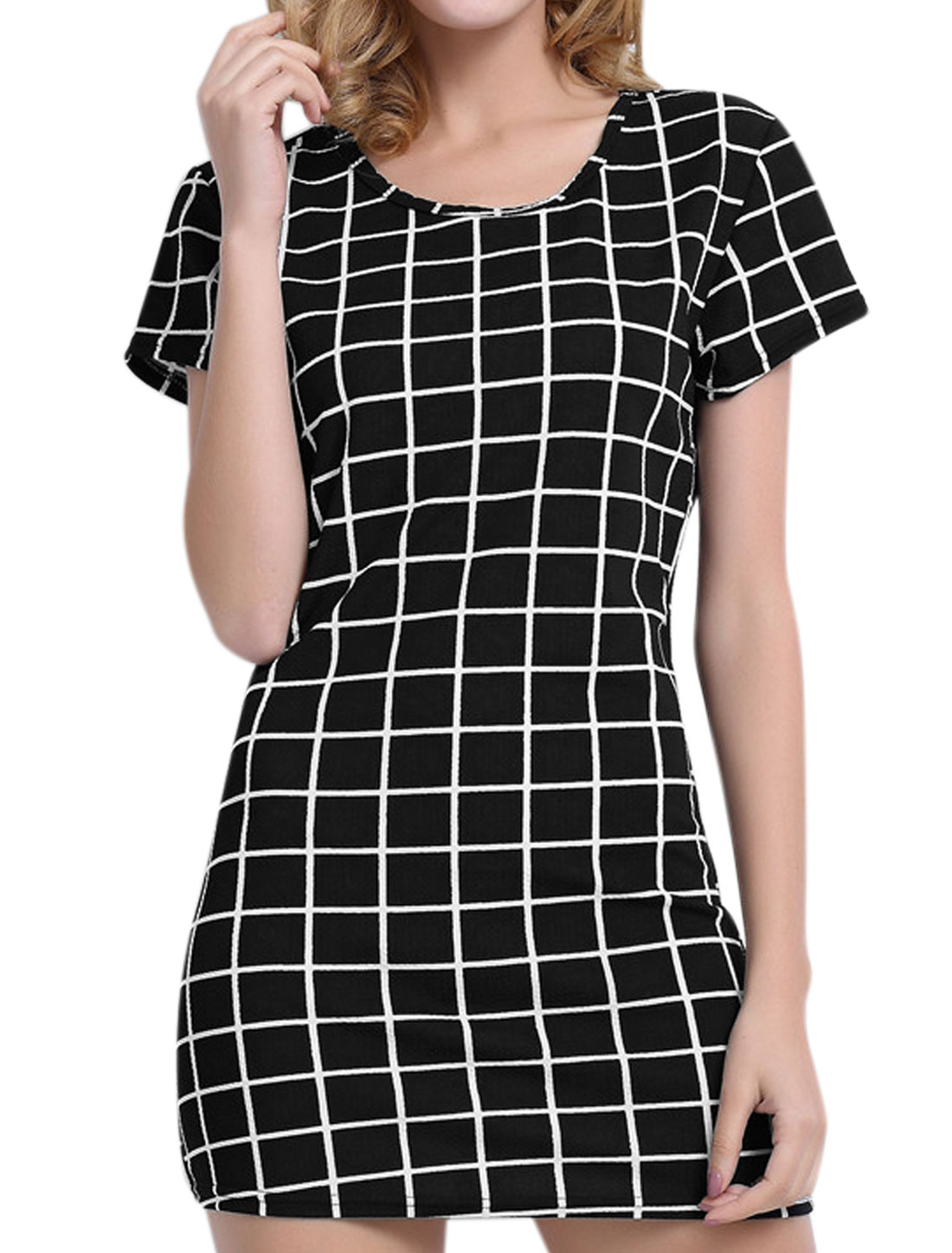 Women Short Sleeves Round Neck Checks Sheath Dress Black M