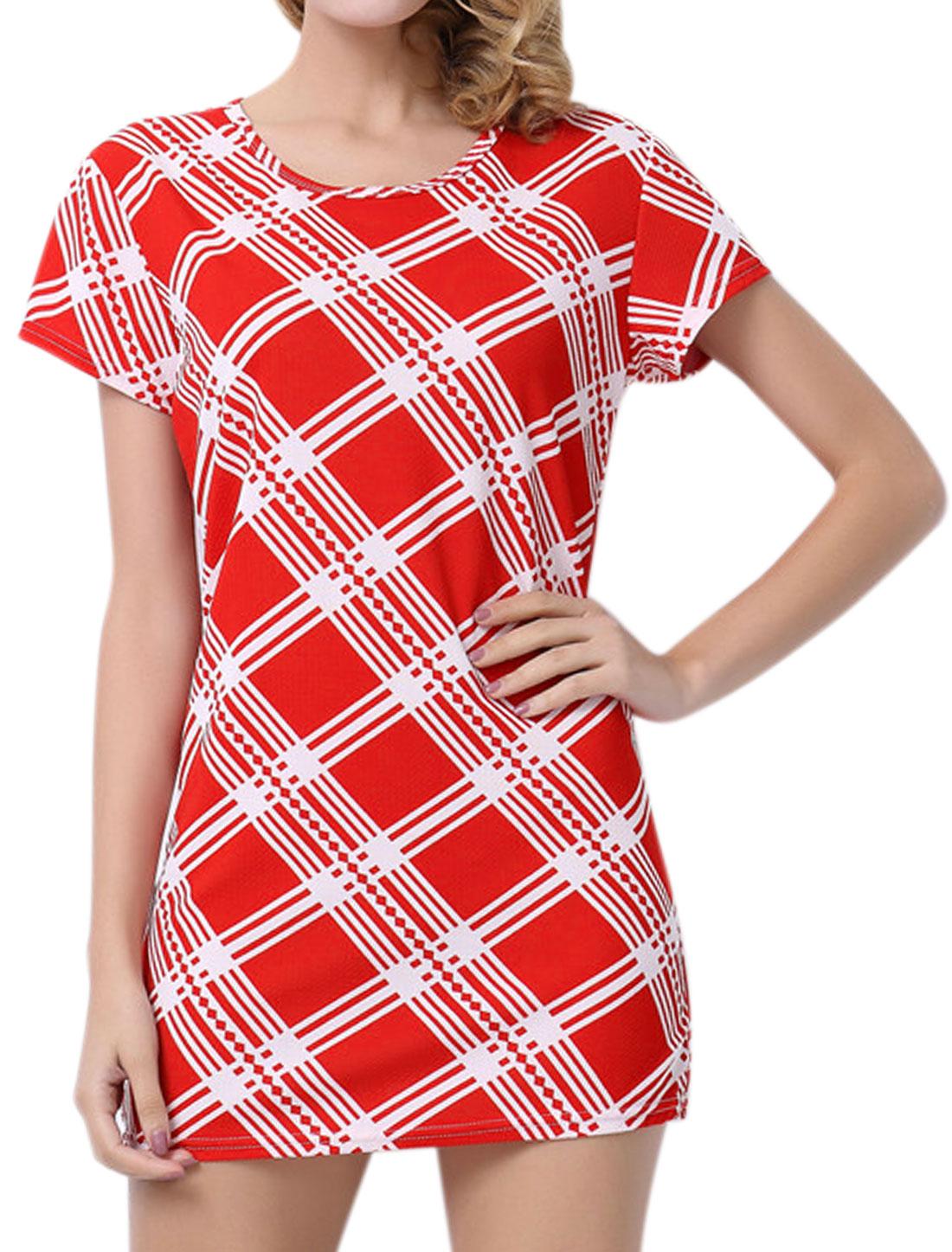 Women Short Sleeves Round Neck Checks Stripes Sheath Dress Red M