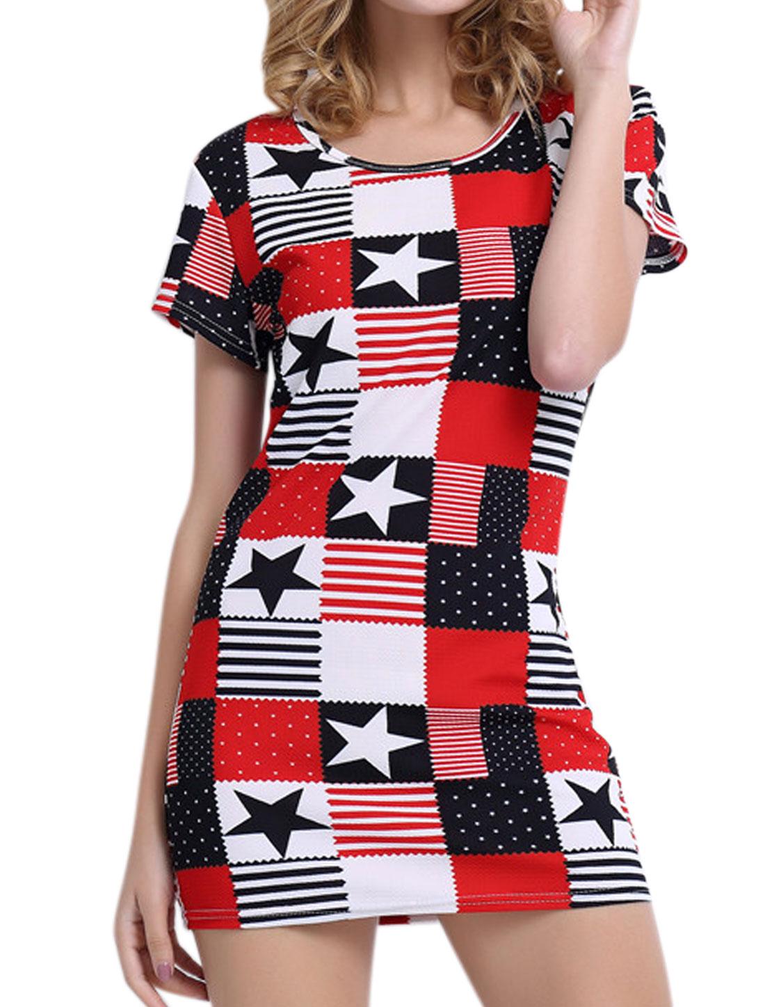Women Short Sleeves Round Neck Stars Stripes Sheath Dress Multi-Color M