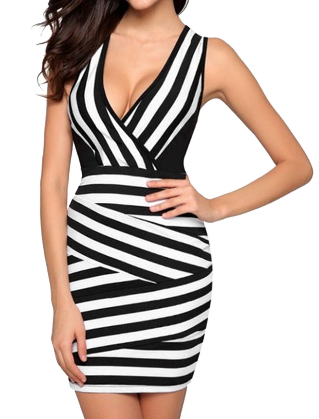 Women Crossover V Neck Stripes Sleeveless Sheath Dress Black L