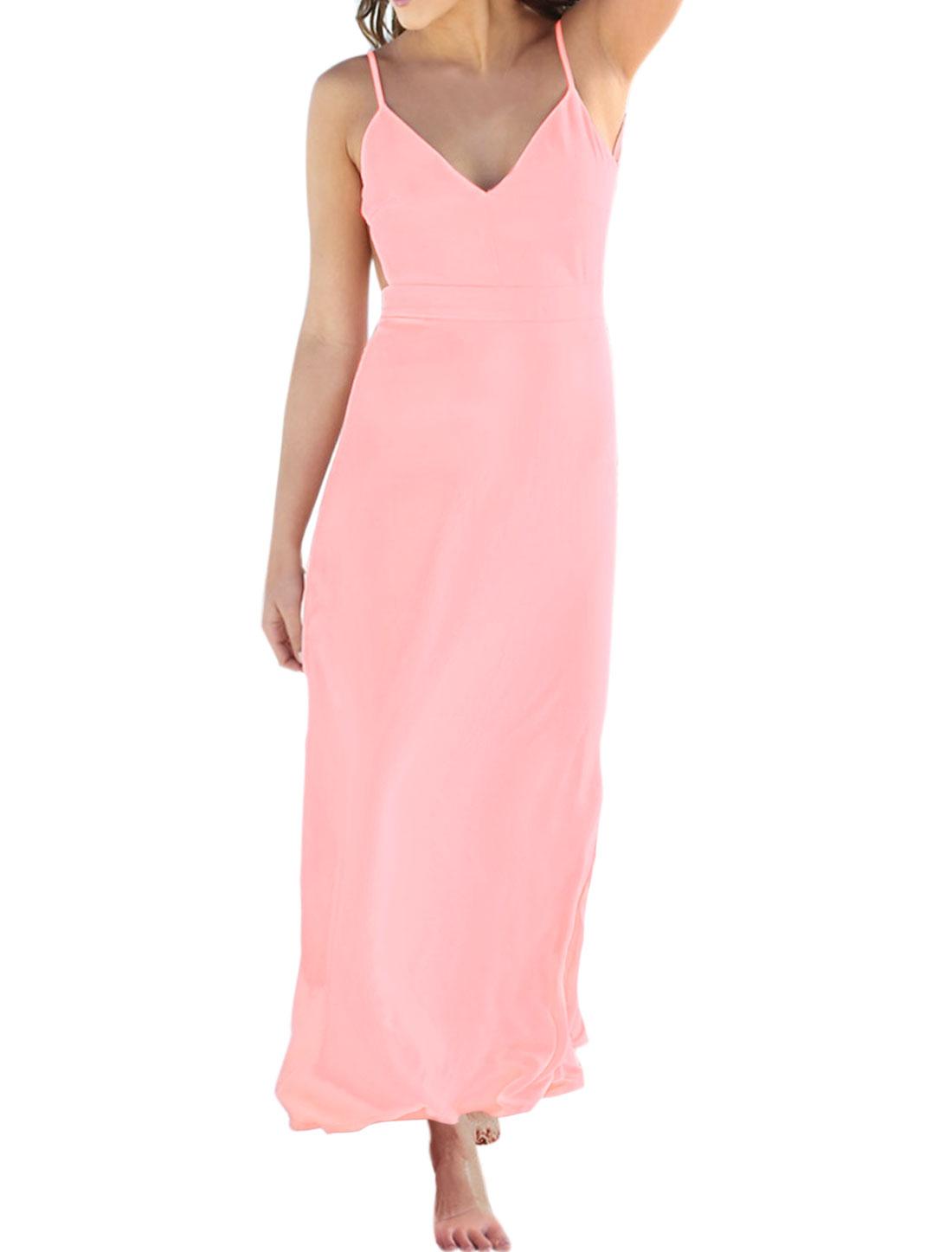 Women Backless V Neckline Spaghetti Straps Cami Dress Pink L