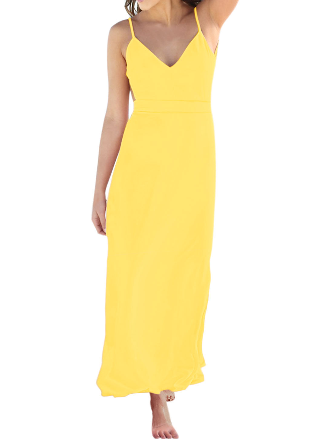 Women Backless V Neckline Spaghetti Straps Maxi Dress Yellow L