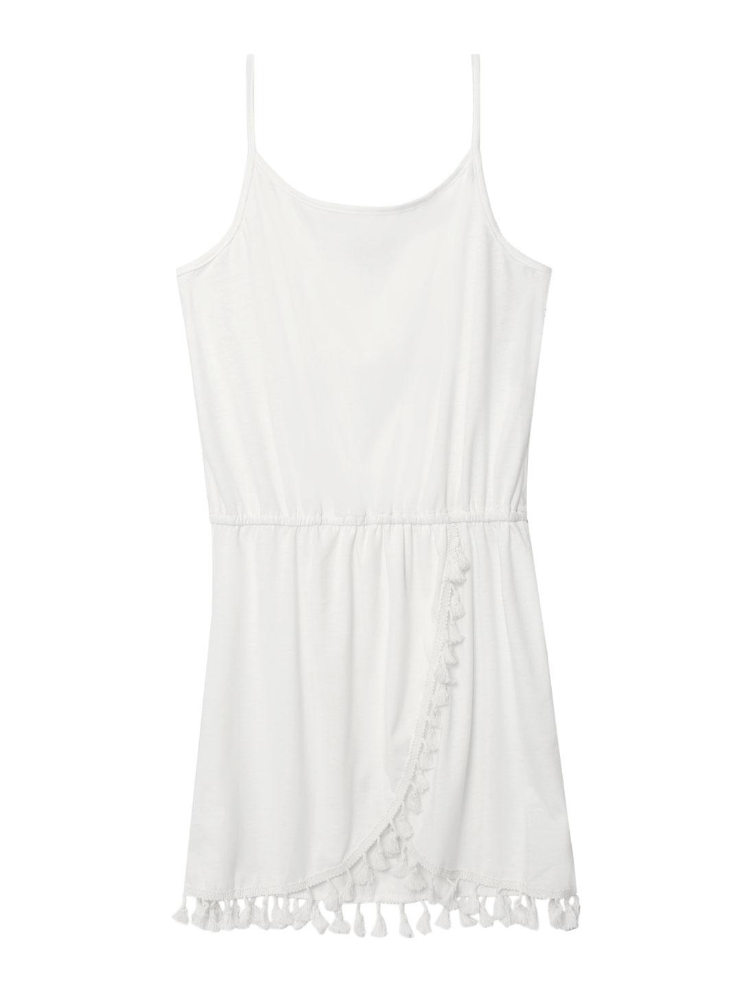 Women Scoop Neck Tassel Tulip Hem Straps Tunic Dress White S