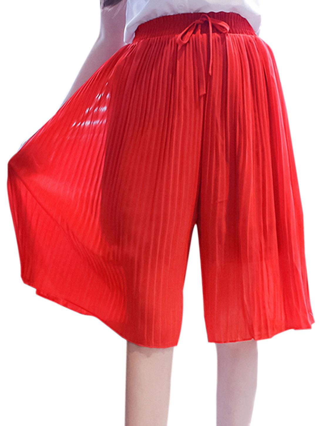 Women Elastic Waist Pleated Chiffon Culottes Pants Red XS