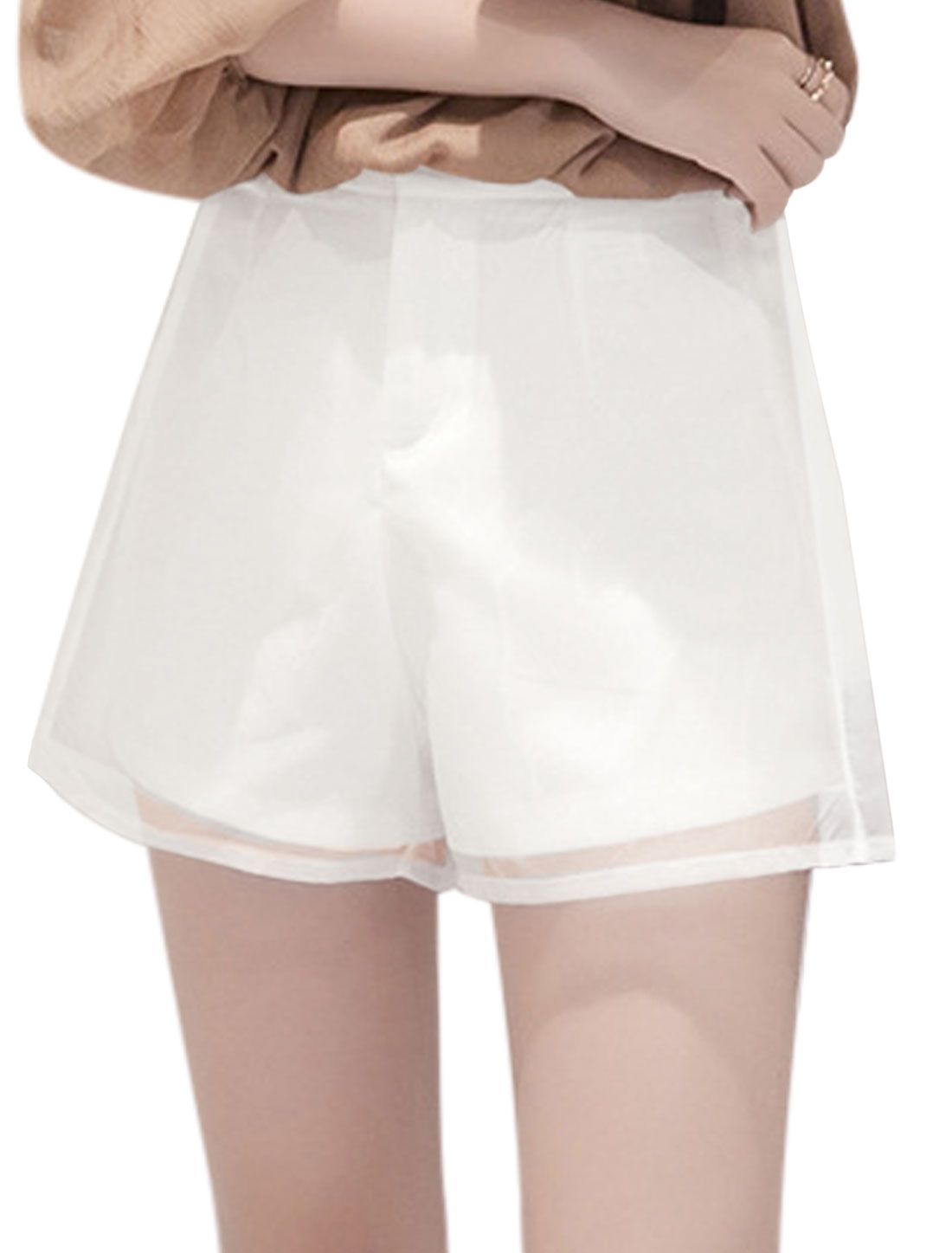 Women Hook Eye Closed Zip Fly Organza Panel A-line Shorts White M