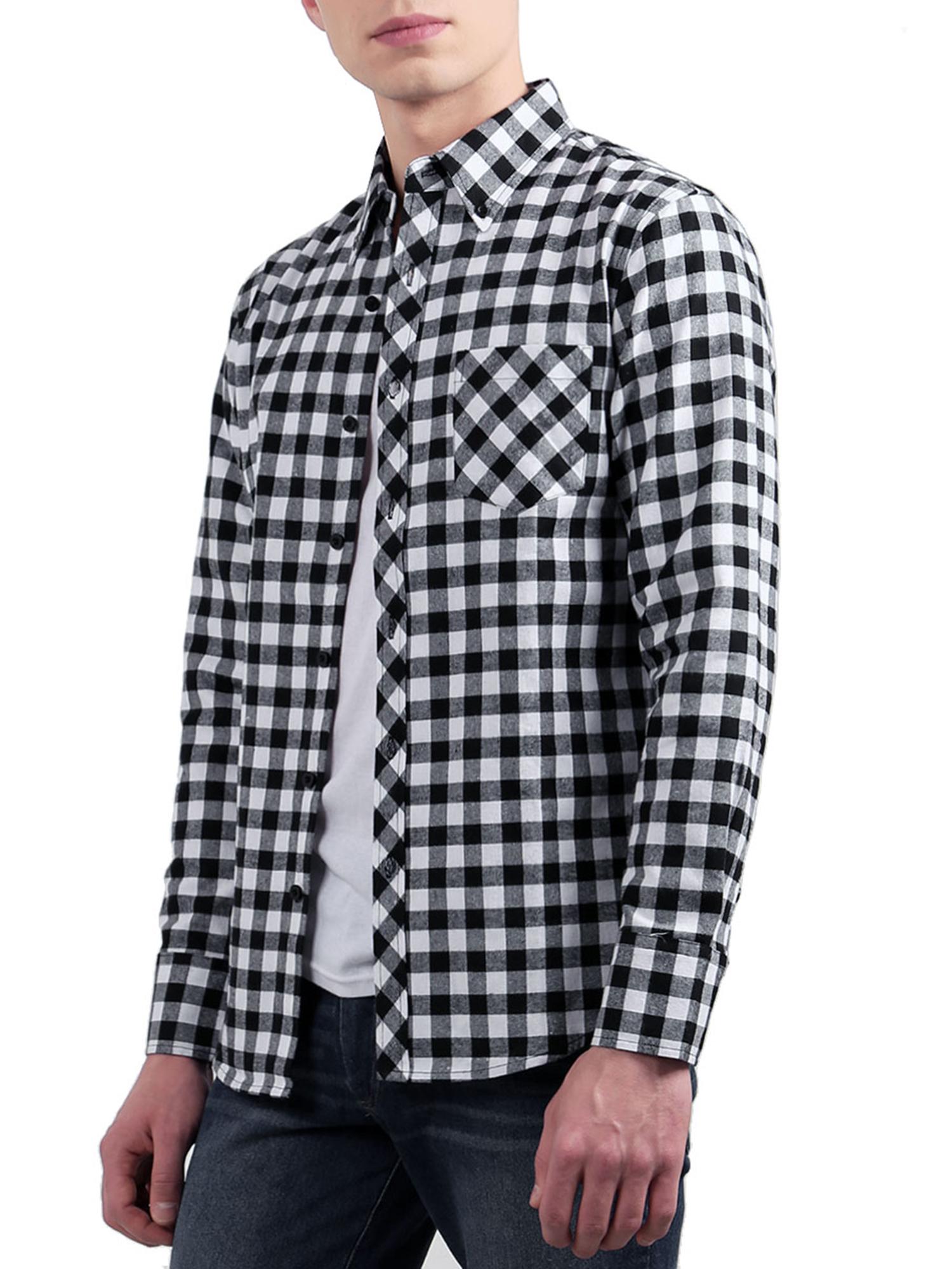 Men Pocket Point Collar Plaids Long Sleeves Button Down Shirt Black White M
