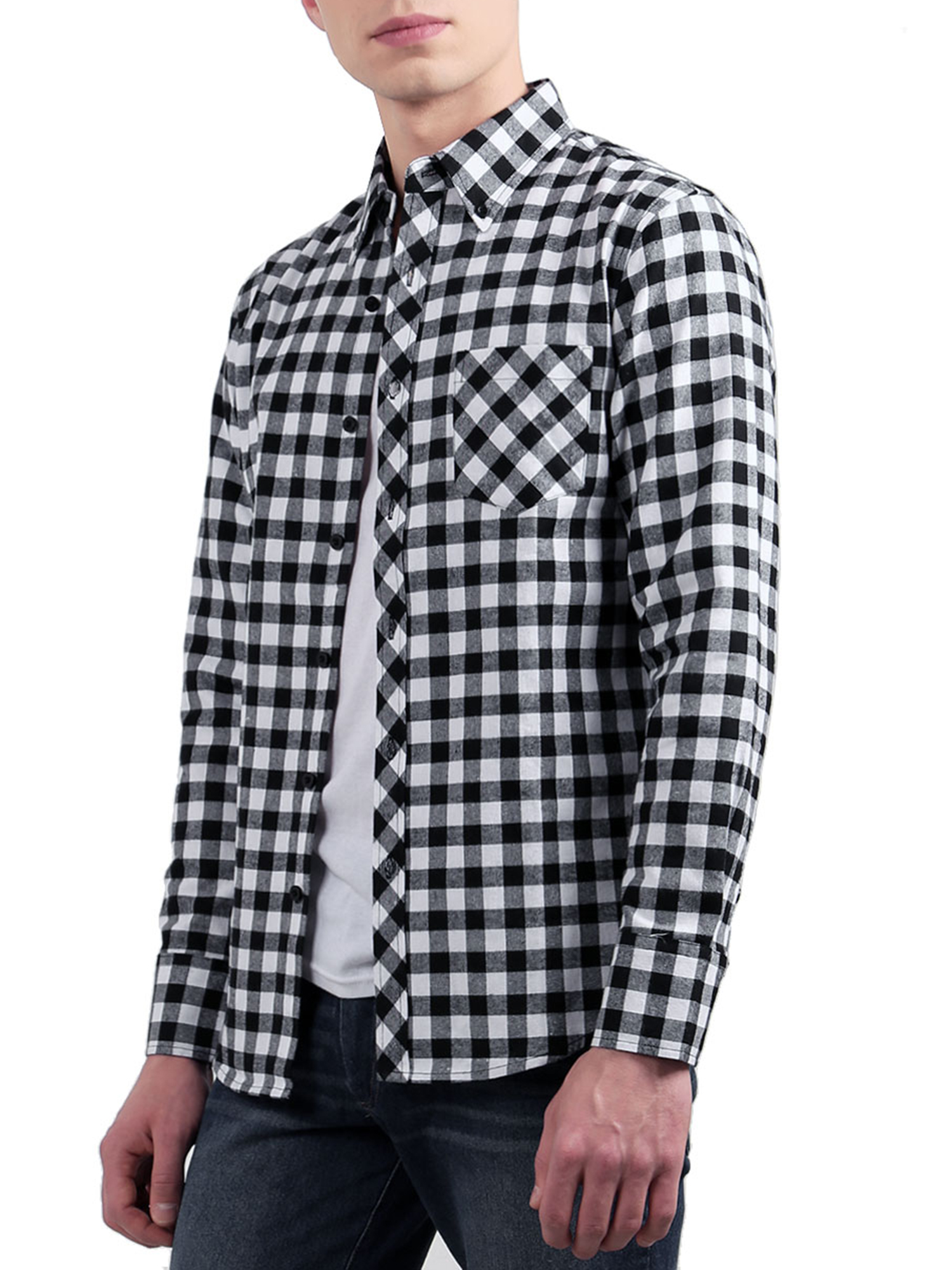 Men Point Collar Pocket Plaids Long Sleeves Button Down Shirt Black White L