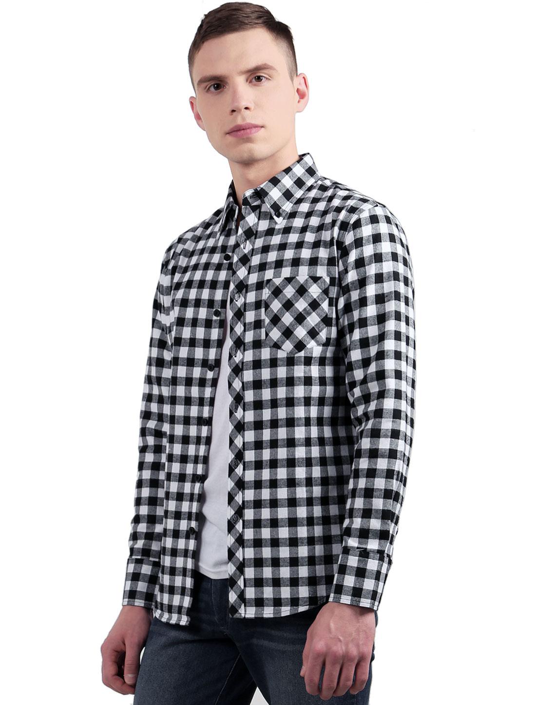 Men Pocket Point Collar Plaids Fannel Long Sleeves Button Down Shirt Black White L