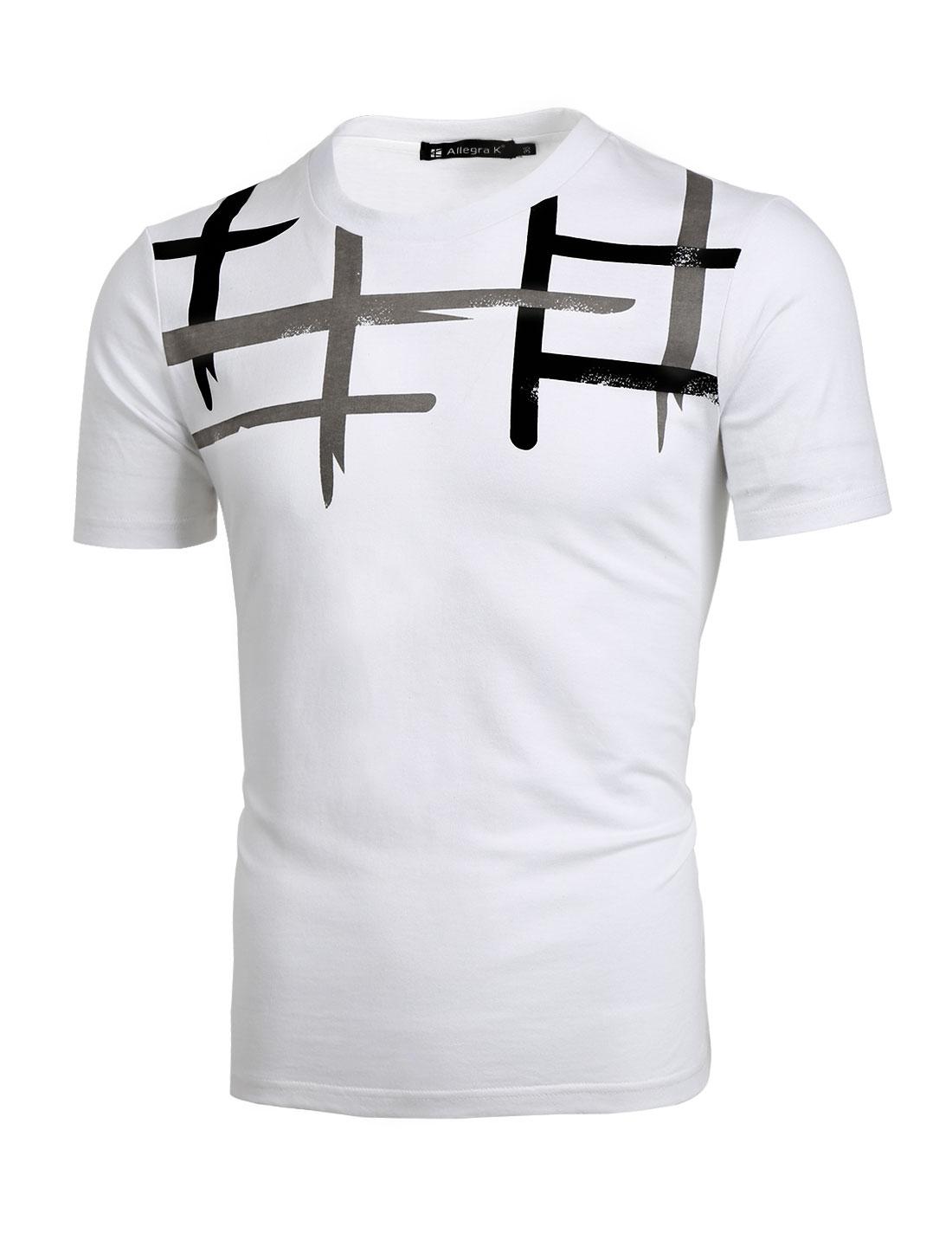 Men Crew Neck Novelty Pattern Short Sleeves T-Shirt White L