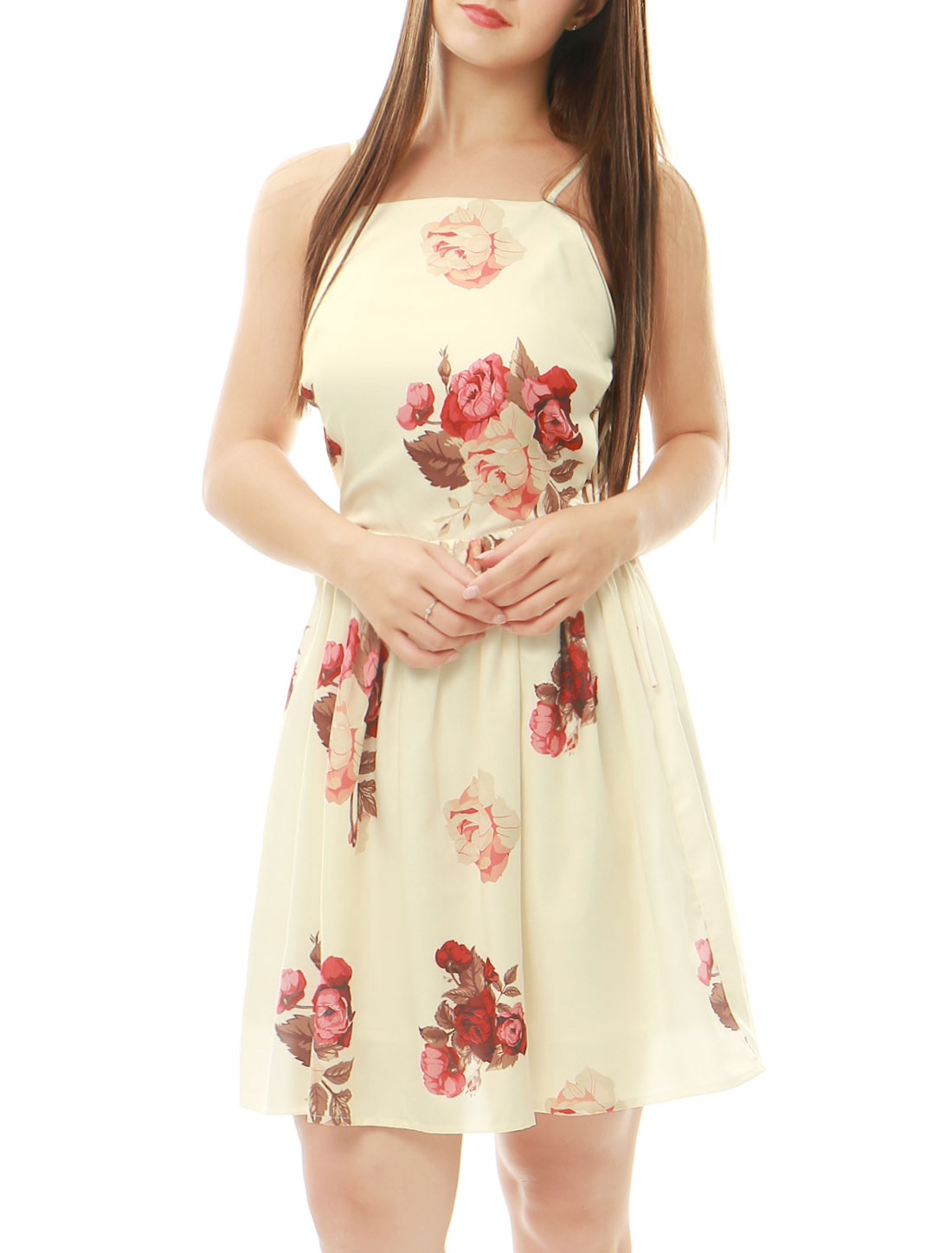 Women Floral Prints Sleeveless Tie Side A Line Dress Beige M