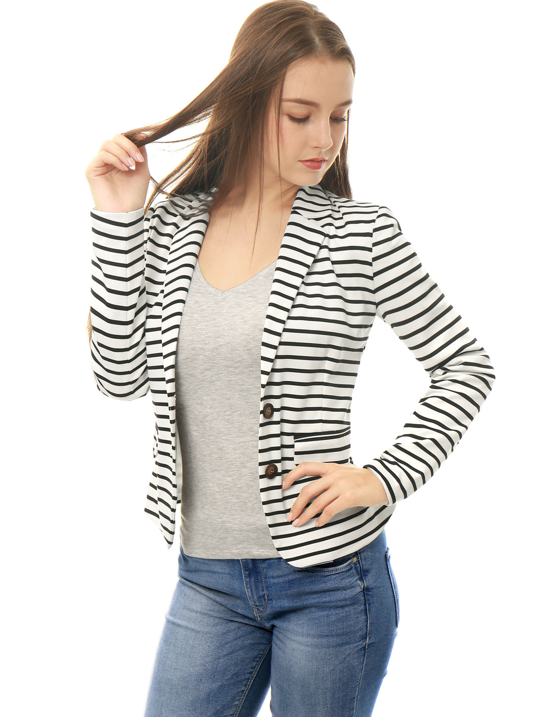 Women Notched Lapel Button Closure Striped Blazer White M