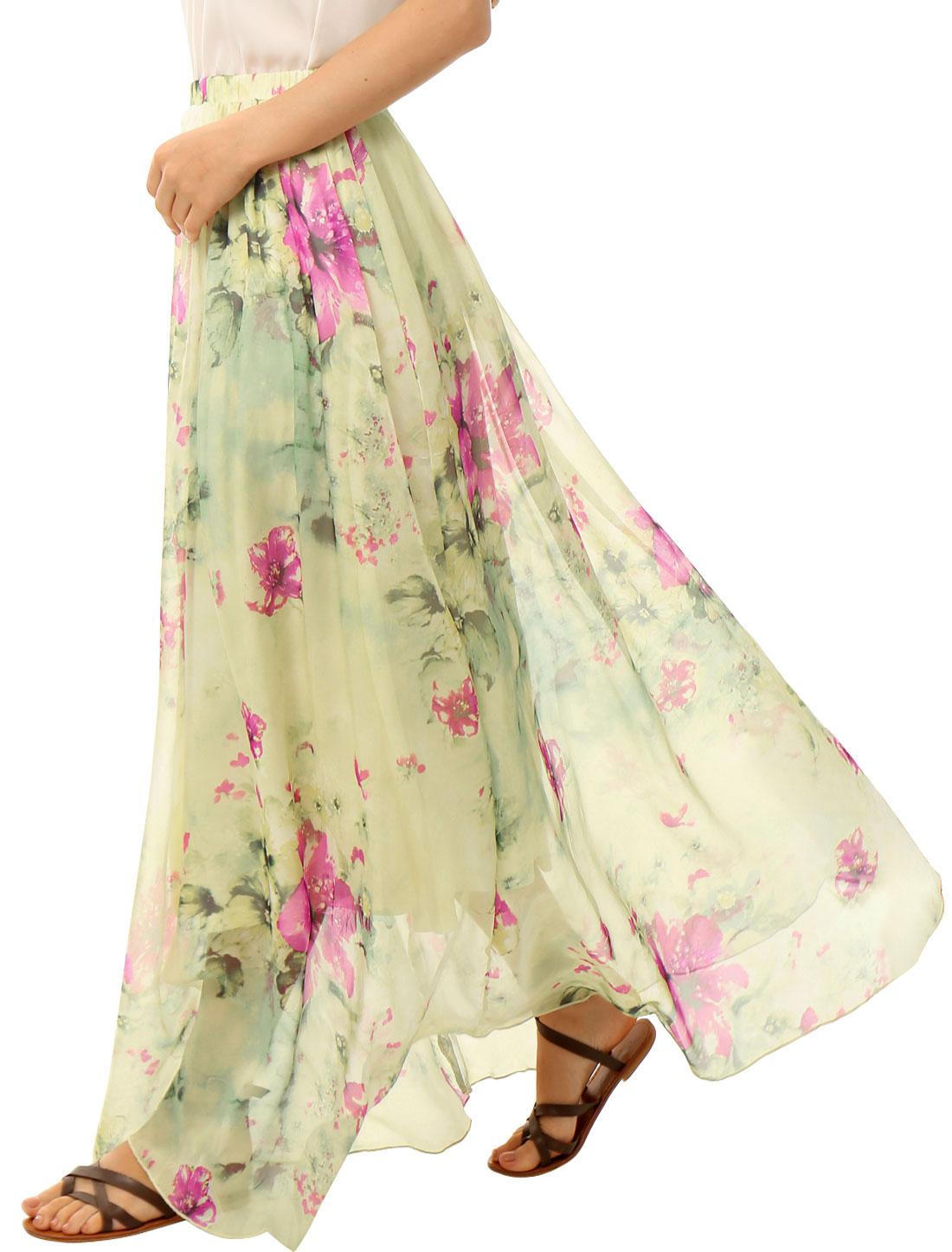 Women Elastic Waist Floral Prints Chiffon Flowy Maxi Skirt Beige L