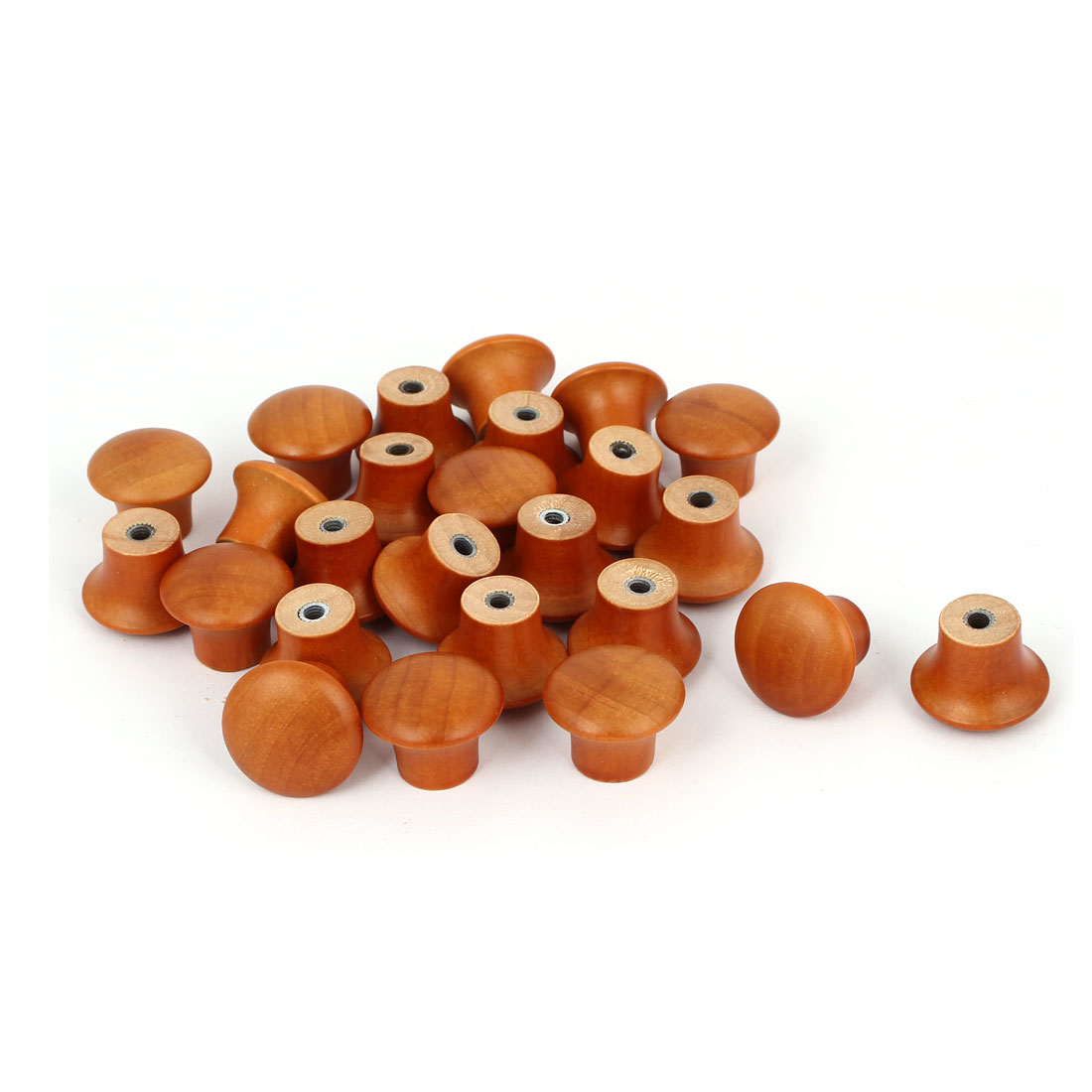 Pre-drilled Wooden Door Drawer Cupboard Knobs Handles 23x17mm Brown 25pcs