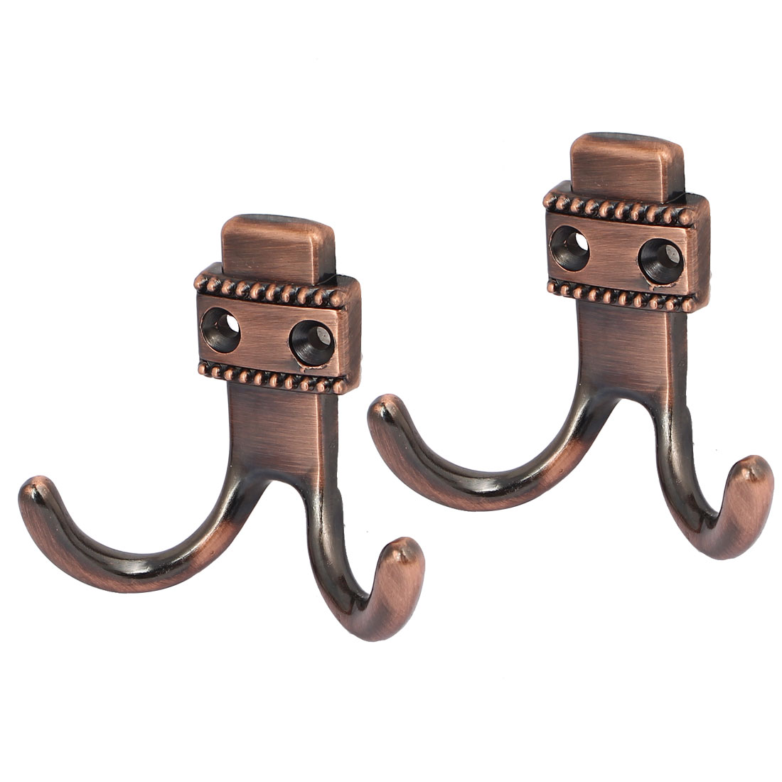 Bedroom Bathroom Pastoral Style Double Prong Hook Coat Towel Hanging Hanger Copper Tone 2pcs