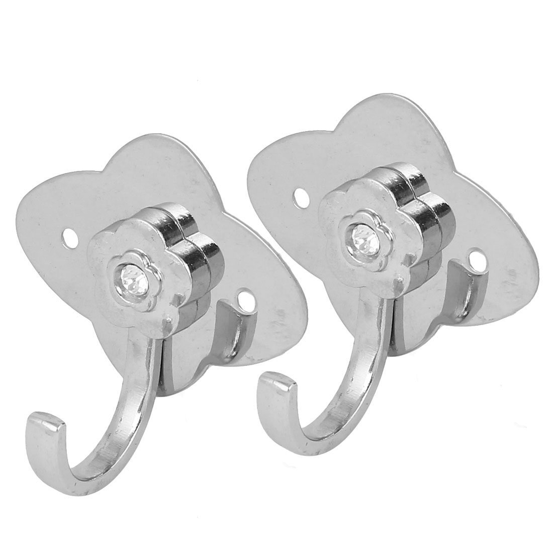 Bathroom Clothes Flower Shape Stainless Steel Wall Mounted Hanger Hooks 2 Pcs