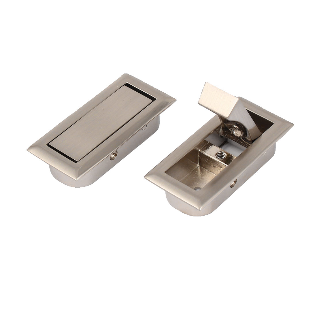 Cabinet Drawer Matte Finish Recessed Zinc Alloy Pull Handle Silver Gray 2pcs