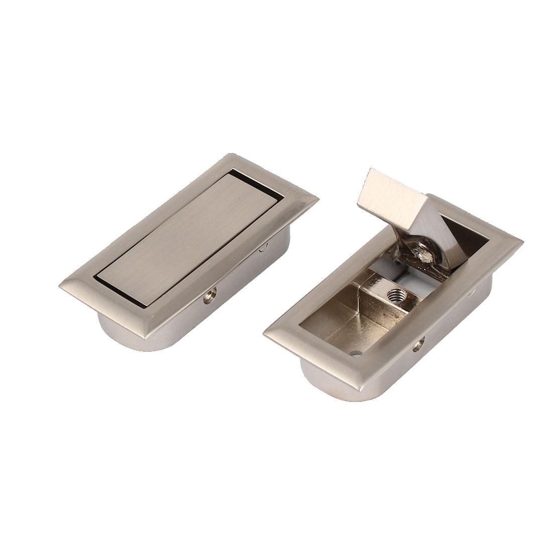 Drawer Cabinet Closet Wardrobe Recessed Zinc Alloy Pull Handle Silver Tone 2pcs
