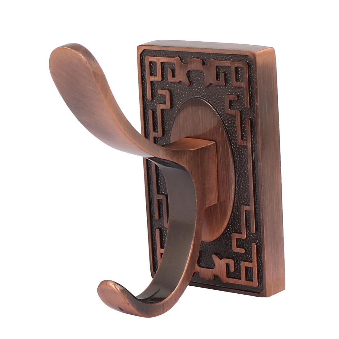 Bathroom Door Metal Wall Mounted Double Robe Coat Hanger Hook Copper Tone