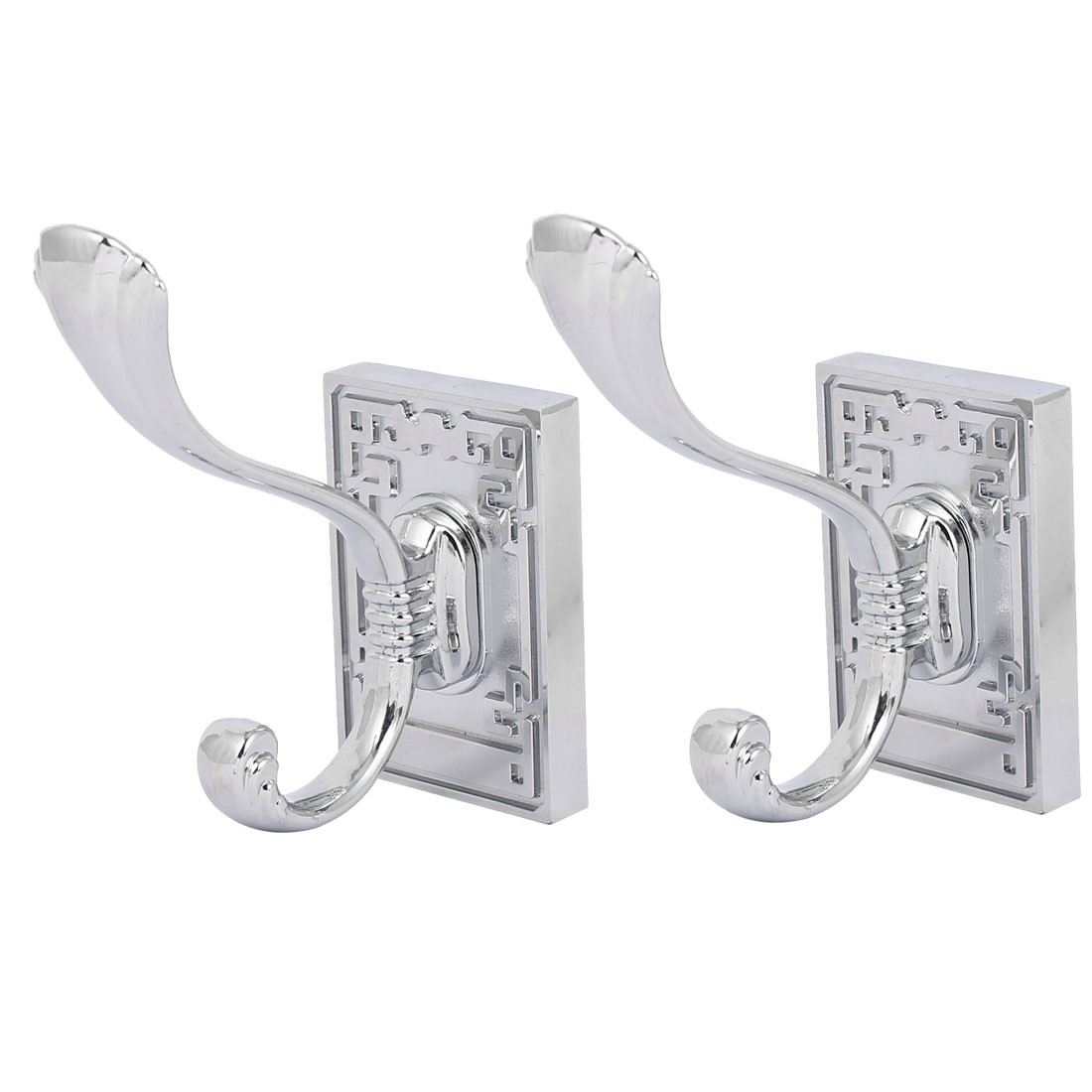 Bathroom Kitchen Clothes Coat Hat Hook Wall Mounted Hanger Silver Tone 2pcs