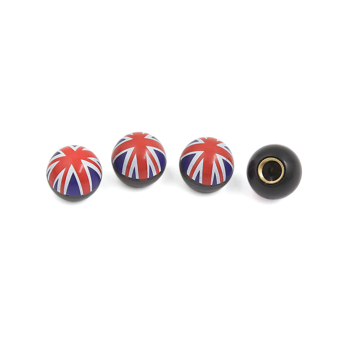 Round Union Jack Printed Car Bike Wheel Tire Tyre Air Dust Stem Valve Caps 4pcs