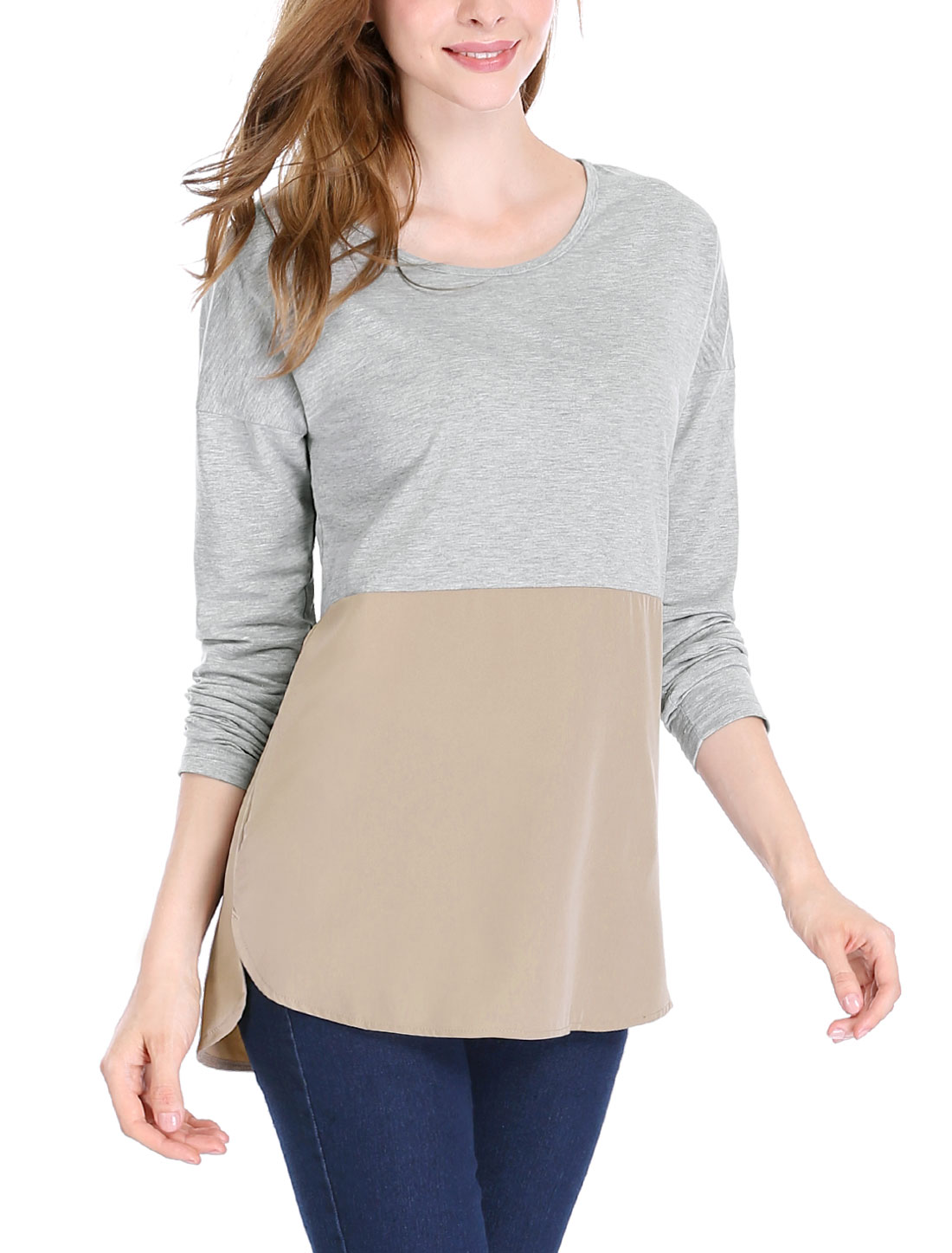 Women Drop Long Sleeves Color Block Panel Tunic Top Gray S