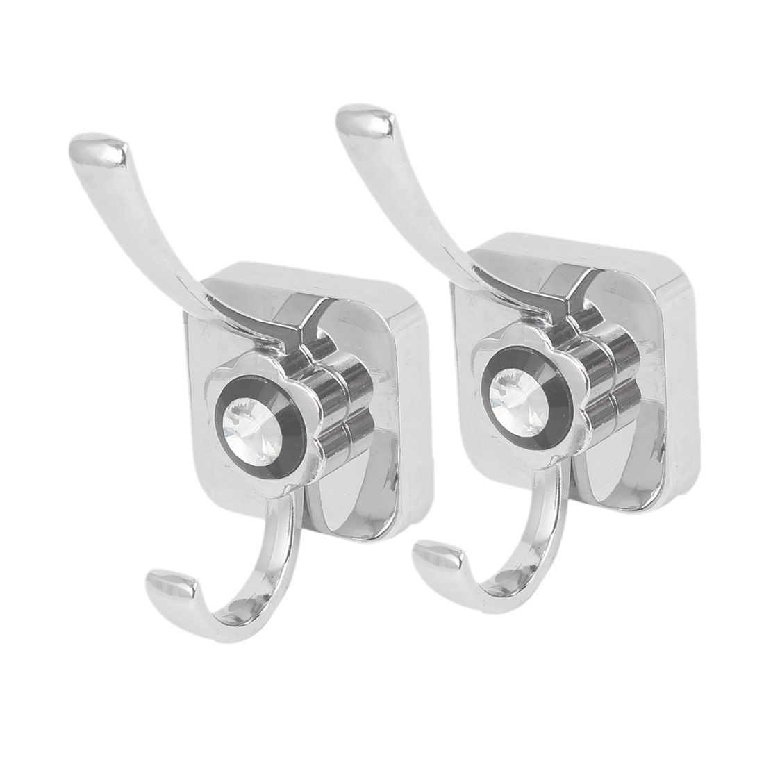 Wall Mounted Square Base Double Hook Hanger 2PCS for Clothes Robe Hat