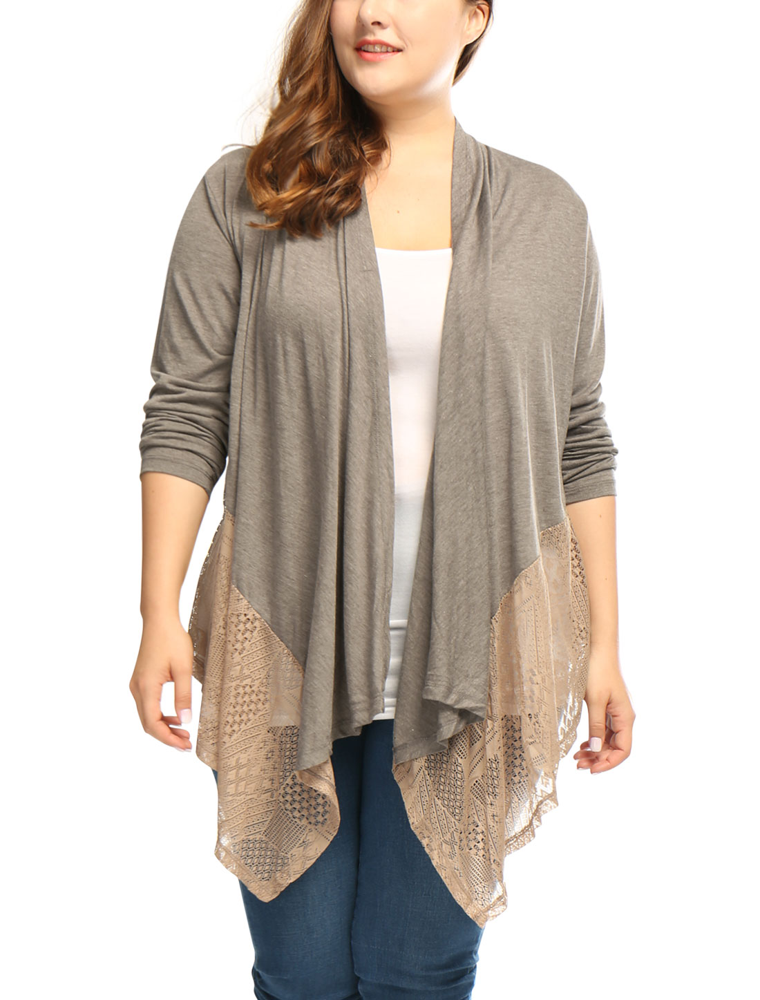 Women Plus Size Draped Front Asymmetric Hem Lace Panel Cardigan Gray 2X