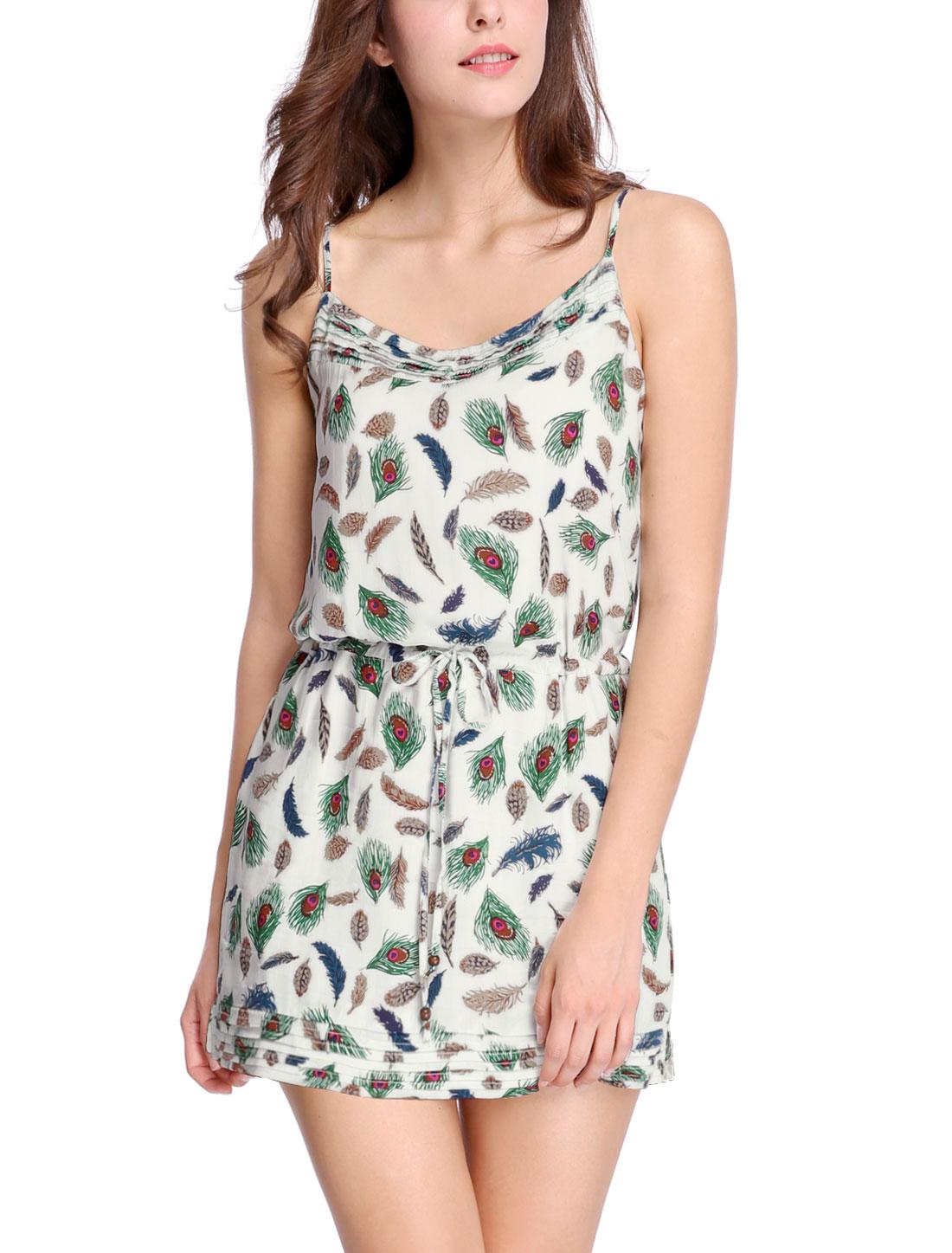 Women Feather Print Drawstring Waist Sleeveless Dress Green M