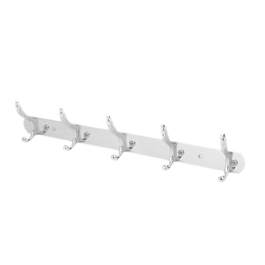 Stainless Steel Wall Mounted 5 Double Hook Hanger Rail Rack for Robe Coat Towel