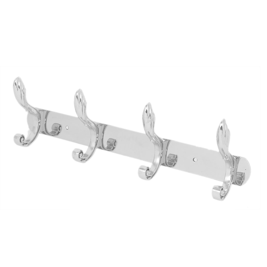 Stainless Steel Wall Mounted 4 Double Hook Hanger Rail Rack for Robe Coat