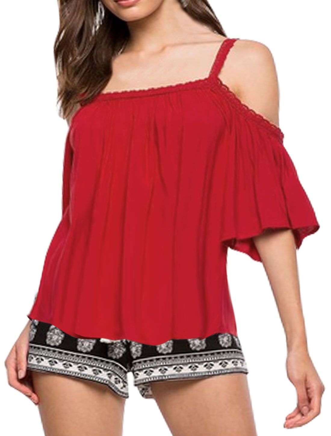 Women Spaghetti Straps Cut Out Shoulder 3/4 Sleeves Blouse Red S