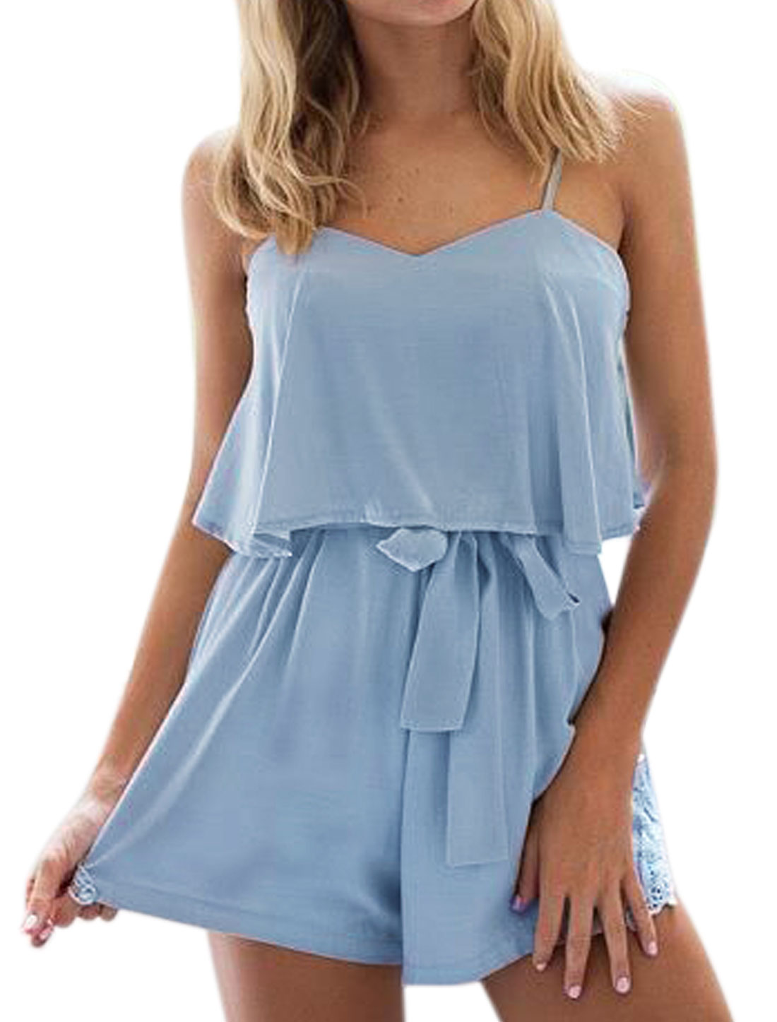 Women Sweetheart Neck Overlay Lace Panel Sides Belted Romper Blue S